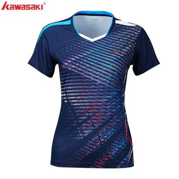 Kawasaki Badminton Sportswear t-shirty dla kobiet tenis stołowy V-Neck oddychający niebieski kolor Badminton Sport 2019 T-shirt ST-S2121 tanie i dobre opinie WOMEN Krótki Poliester Pasuje prawda na wymiar weź swój normalny rozmiar Oddychające Dark Blue 100 polyester S~3XL