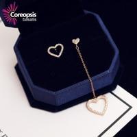 S925 Pure Silver Ear Needle Stud Earrings Valentine's Day Heart Love Girl simple student Anti-allergic Asymmetric Tassel Earring