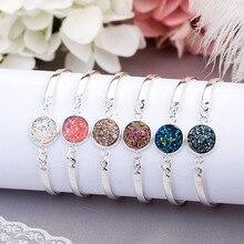 HOMOD Nature Stone Bracelet Big Druzy Bezel Setting Large Tone Jewelry Sparkling Handmade Femme Bracelets