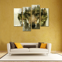Amosi Art 4 Pieces Painting Wall Art Picture For Home Decor Wolf Pine Trees Forest Water