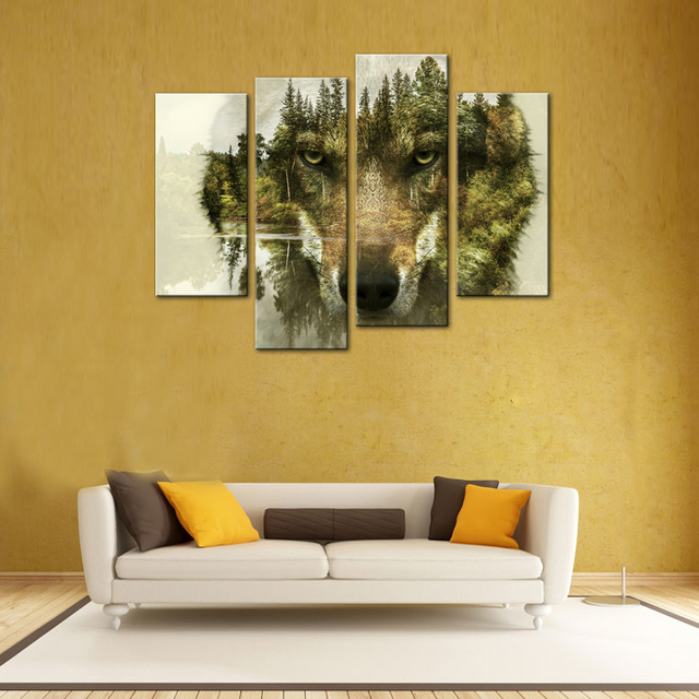4 Pieces Wolf Canvas Paintings Wall Art Picture Animal Print On ...