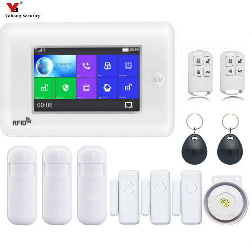 Yobang Security All Touch Screen Alexa Version 433MHz wireless WIFI 3G SIM Smart Home Security Monitor Burglar Alarm System Kits