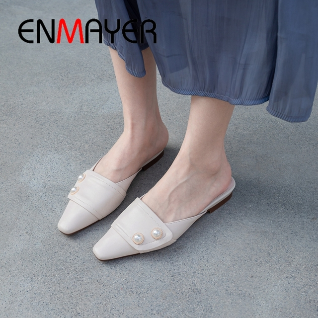 ENMAYER 2019 New Arrival  Genuine Leather Slippers Women  Solid  Spring/Autumn  Outside Women Fashion Low Heel Size 34-40 LY2045