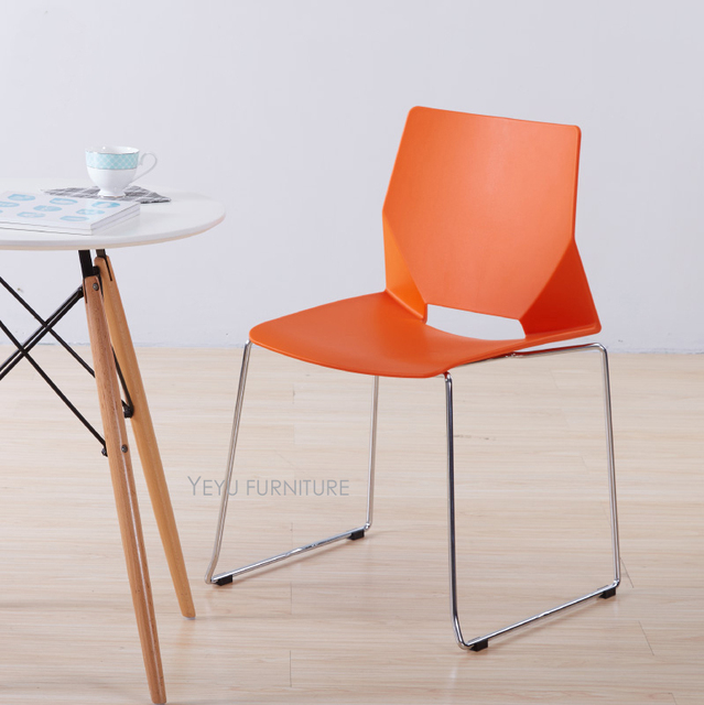 Modern design stackable plastic and steel dining chair, fashion ...