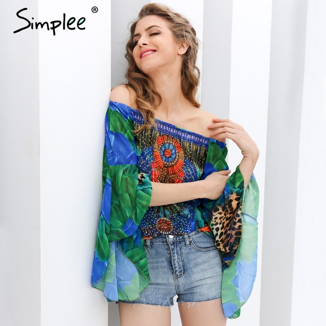 Simplee Off shoulder print chiffon blouse women Streetwear diamonds flare sleeve cool blouse Summer party blusas