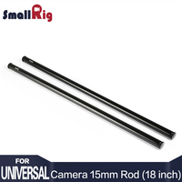 SmallRig Black Aluminum Alloy 15mm Rods 18 Inches Long With M12 Female Thread Includes M12 Rod