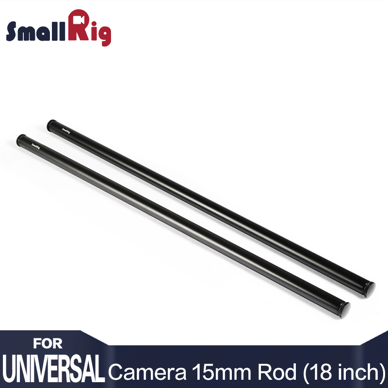 SmallRig Black Aluminum Alloy 15mm Rods 18 Inches Long with M12 Female Thread Includes M12 Rod Caps (Pair Pack)-1055 mz long universal aluminum alloy motorcycle handlebar ends caps plugs blue black pair