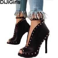 DiJiGirls Roma Latest Women Pumps Peep Toe Ankle Strap Sandals Gladiator Cut Out V Rivets Studs