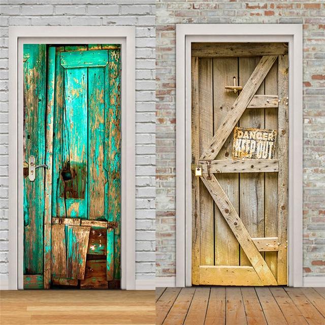 Creative DIY Wood Door Wall Stickers Bedroom Home