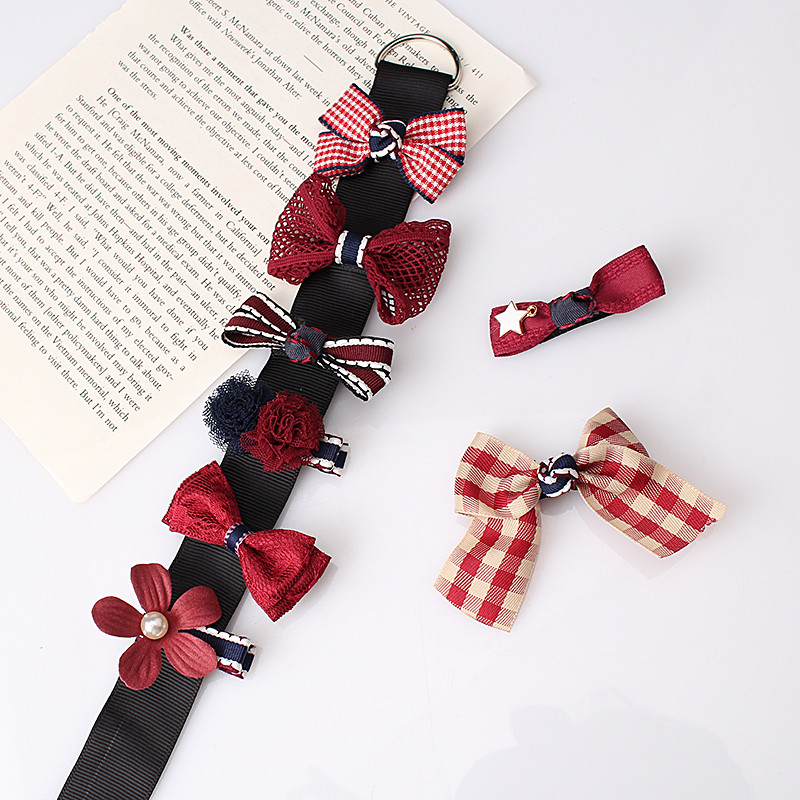 HTB1bRLrOpXXXXajXpXXq6xXFXXXK Fashionable Kids 8-Pieces Multi-Style Ribbon Bow Flower Hair Barrette Set - 5 Styles