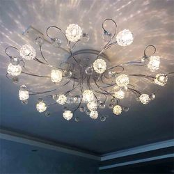 MX8342-19 kreatywny nordycki współczesny minimalistyczny lampa sufitowa kryształowy pilot LED G4 światło salon oświetlenie sypialni lampa