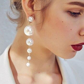 IPARAM Trend Simulation Pearl Long Earrings Female White Round Wedding Pendant Fashion Korean Jewelry