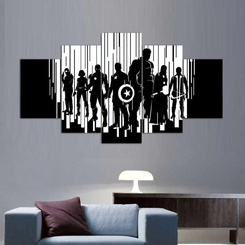 Modern Painting Canvas Wall Art Modular Pictures Frame Home Decor 5 Panels Black White Avengers HD Printed Movie Poster
