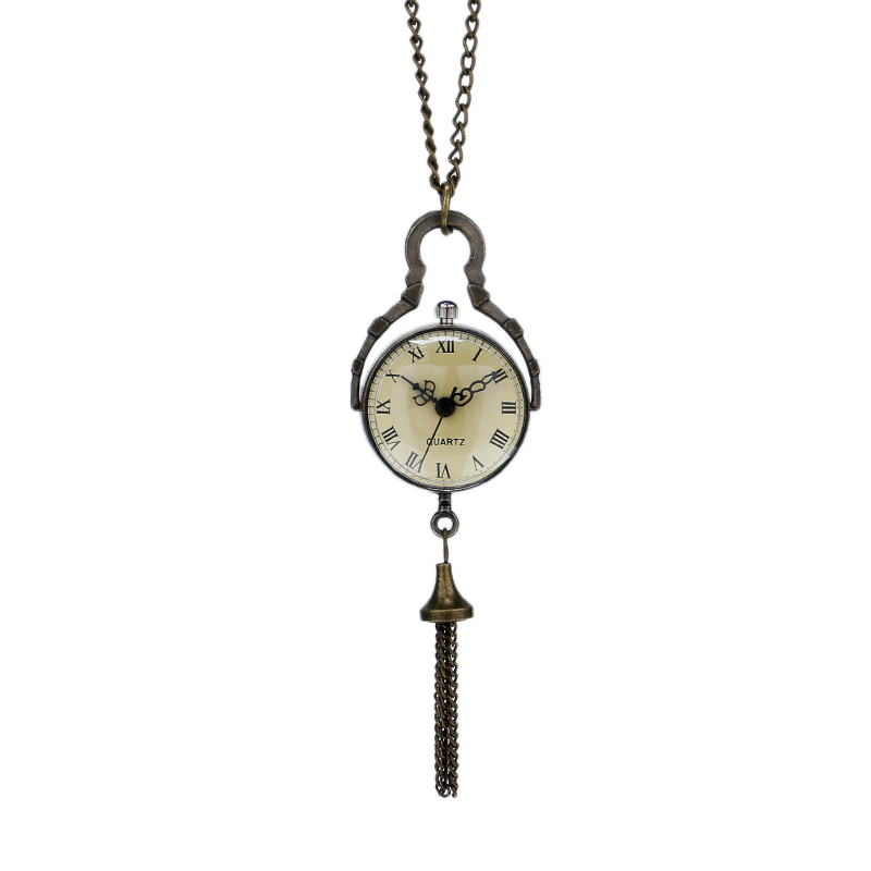 Retro Vintage Fish Eye Black Dial Glass Ball Pendant Pocket Watch Sweater Necklace Valentine's Day Gifts Ladies Womens