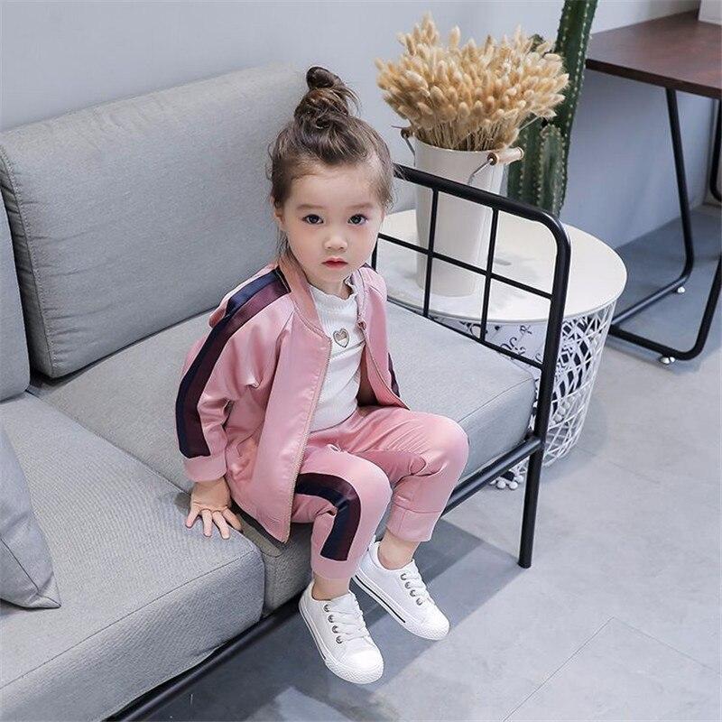 2019 autumn new girls baseball uniform zipper shirt jacket + trousers sports two-piece clothing sets for chiildren's clothes