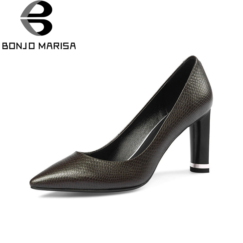 BONJOMARISA 2018 Spring Autumn New Western Style Genuine Leather Women Pumps Big Size 33-43 Shallow Ol Shoes Woman High Heels 2016 new pumps ol style thick high heels women shoes with bowtie pu leather shoes woman for spring 3 colors size 35 39 xwd717