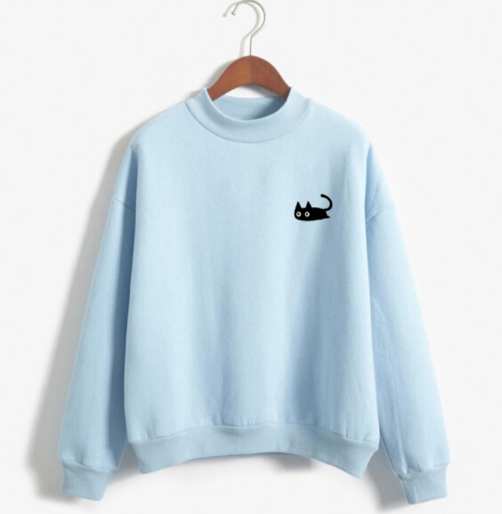 d2fe5e79217d Women s Casual Loose Cat Printed Hoodie Sweatshirt Long Sleeve Solid Color  Round Neck Unisex Man s Hooded Jumper Pullover Tops