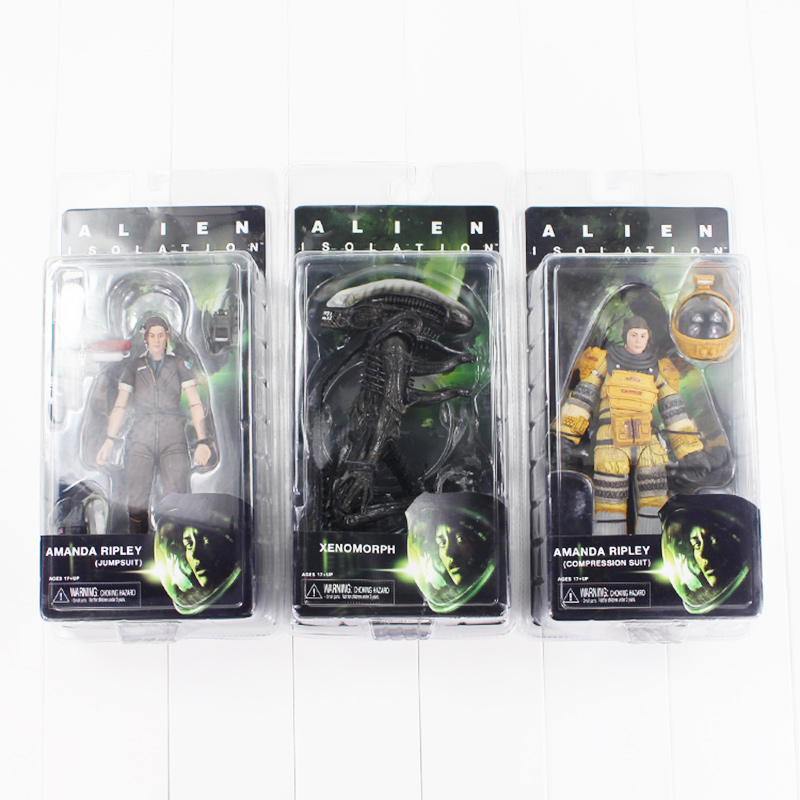 3 Styles NECA Alien Isolation Amanda Ripley Space Suit Jump Suit Xenomorph Sci-Fi Terror Movie Aliens Action Figure Toy With Box 1pcs alien vs predator amanda mixed human avp soldier ripley 17cm model collectie kids movie brinquedos series sci fi film neca