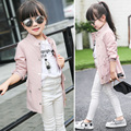 High Quality 2017 Korean Spring Fall Girls Cool Long Leisure Jacket Children's Clothing Overcoat Kids Cardigan Trench Coat G962