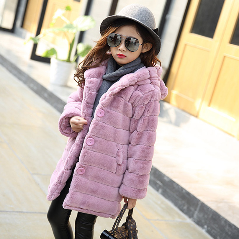 Winter Wear Girls Faux Fur Coat Cotton Padded Jacket for Girls Fur Coats Baby Child Christmas Thickened Kids Clothes teenager mona liza mona liza 240 260