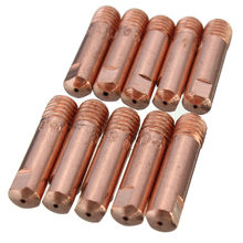 10 stks/set MB 15AK Mig Mag Lassen Lassen Torch Contact Tips Houder Gaspijp Goud 0.8*25mm/ 1.0*25/1.2*25mm(China)