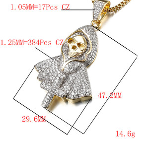 Image 4 - Hiphop Rock Skeleton Necklace Punk Ghost Party Jewelry Jesus Cross Specter Pendant CZ Crystal Necklaces Party Iced Out