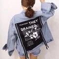 [XITAO] mujeres del Otoño longitud de adelgazamiento de forma regular solo pecho turn-down collar completo manga regulares de mezclilla chaqueta LTB-160
