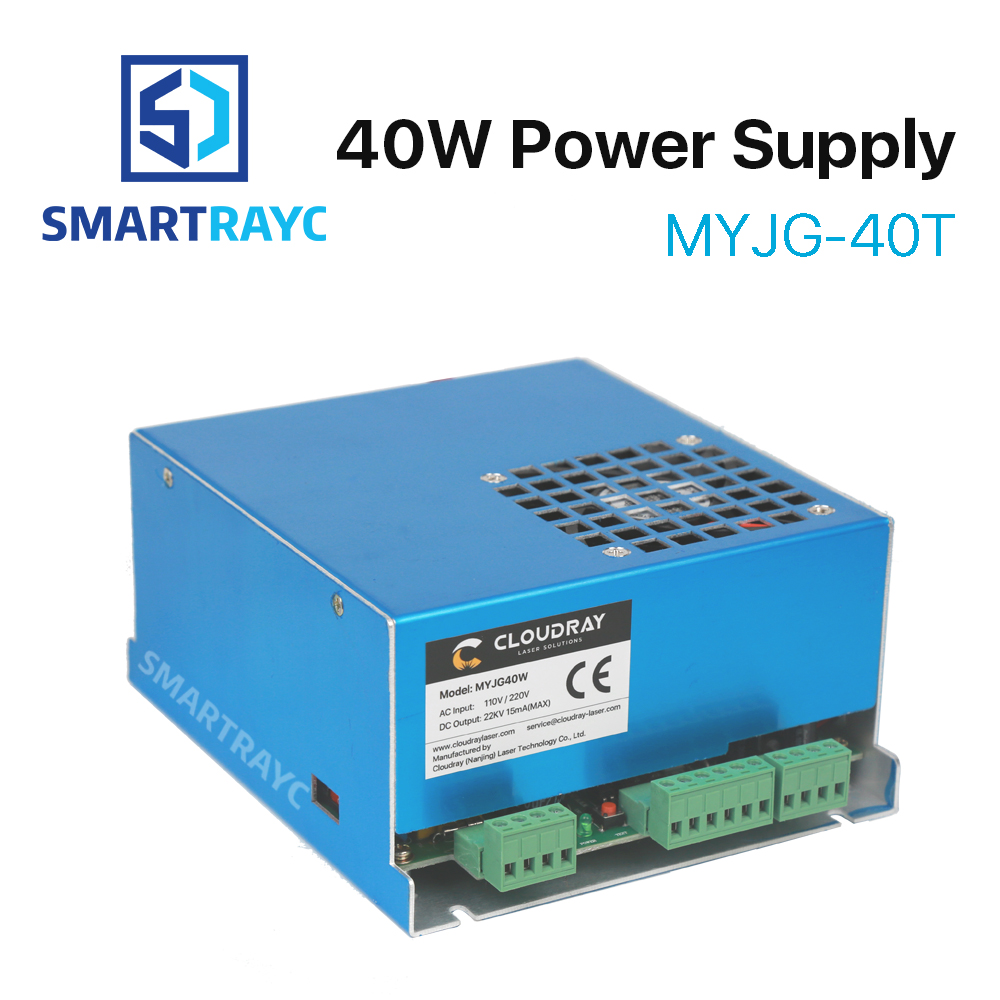 Smartrayc 40W CO2 Laser Power Supply MYJG-40T 110V 220V for CO2 Laser Engraving Cutting Machine 35-50W 50w co2 laser power supply for co2 laser engraving cutting machine myjg 50w