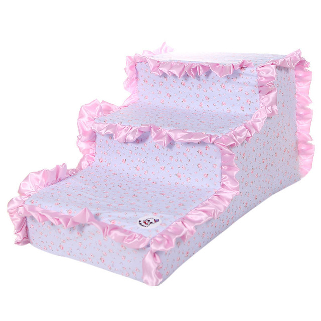 Wholesale Puppy Dog House Pet Ramp Stairs Breathable Pet Stairs Puppy Steps Anti-Slip Princess Cat Mattress Blue Pink