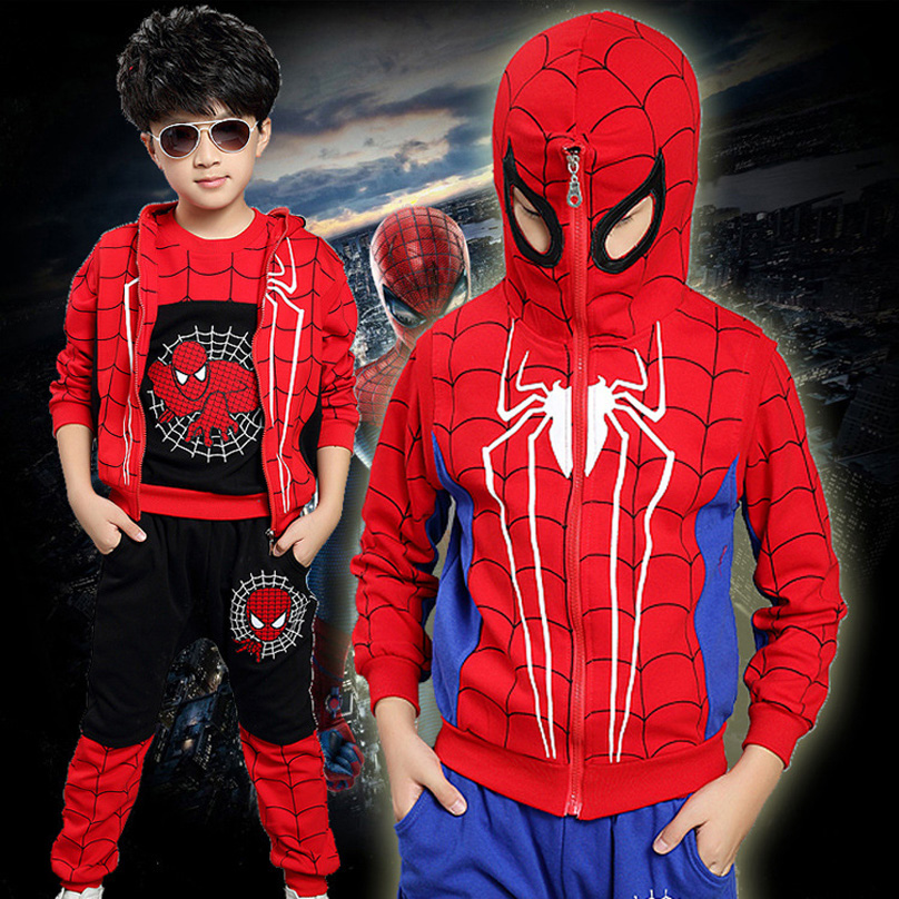 Winter style fashion cartoon spiderman children clothes kids cotton clothing set for baby boys coat pants