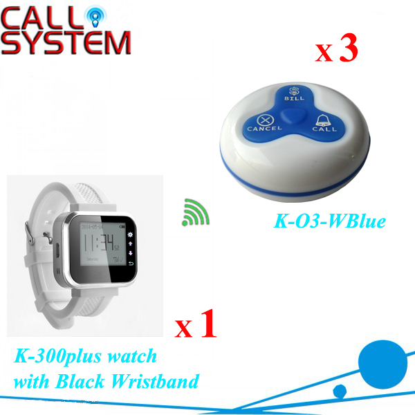 Modern Equipment Waiter caller bell system 1 watch with 3pcs waterproof buzzer for sample one set wireless system waiter caller bell service 1 watch wrist pager with 5pcs table customer button ce passed