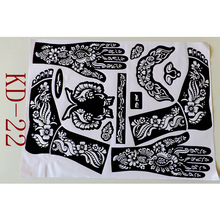 1pc KD22 Tattoo Template Hands/feet Henna Tattoo Stencils For Airbrushing Professional Mehndi Body Painting Kit Supplies