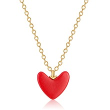 S925 Sterling Silver Necklace New Simple Heart Shape Love Pendant Clavicle Chain  Small Red Heart  Necklace Women Jewelry simple heart husky dog shape pendant necklace for men