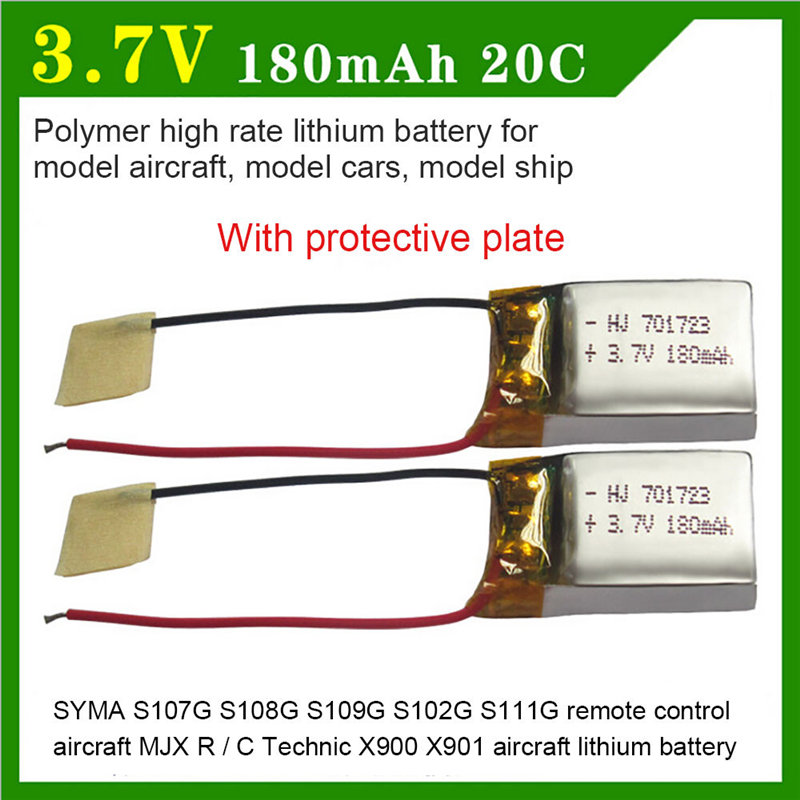 2PCS 3.7V 180mAh Lipo Battery for SYMA S107G S109G S111G MJX X900 X901 Drone #40 mjx x900 x901 spare upper lower body cover shell