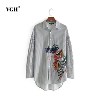 VGH 2017 Autumn Winter New Product Lapel Shoulder Thick And Disorderly Long Sleeve Printing Embroidery Stripe Shirt Woman A4714