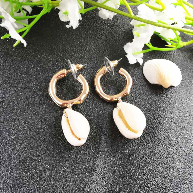 JCYMONG Sea Shell Earrings For Women Gold Silver Color Metal Shell Cowrie Statement 2