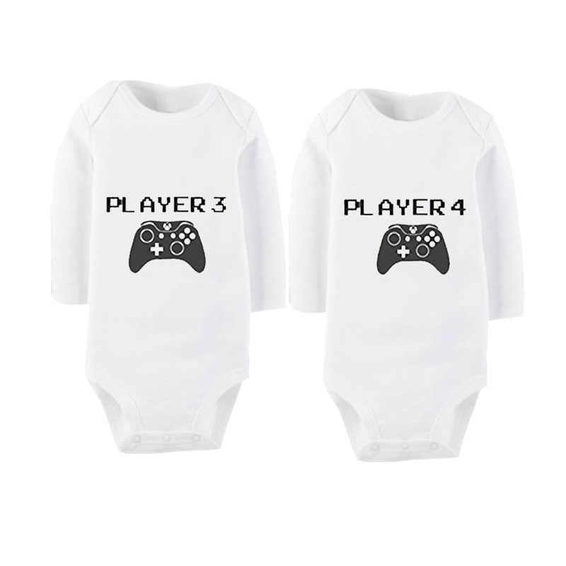 3c98514d93397 Culbutomind Cotton Long Sleeve Twins Baby Bodysuits Twins Baby Clothes  Funny Baby Boys Girls Outfit Twins Matching Sets
