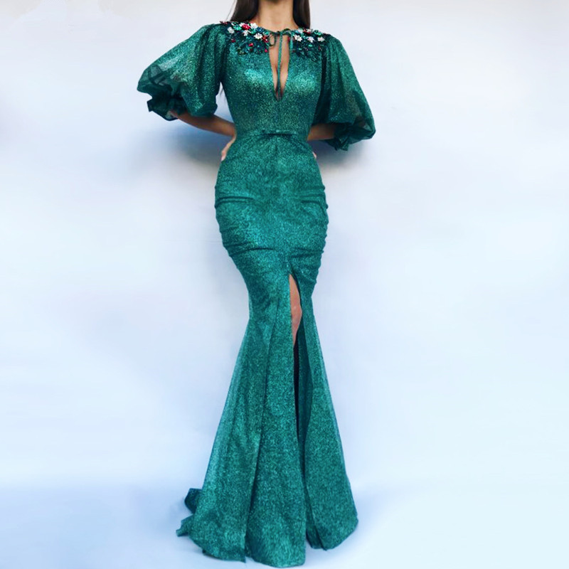 Green Muslim   Evening     Dresses   2019 Mermaid Half Sleeves Sequins Beaded Islamic Dubai Saudi Arabic Long Formal   Evening   Gown Prom
