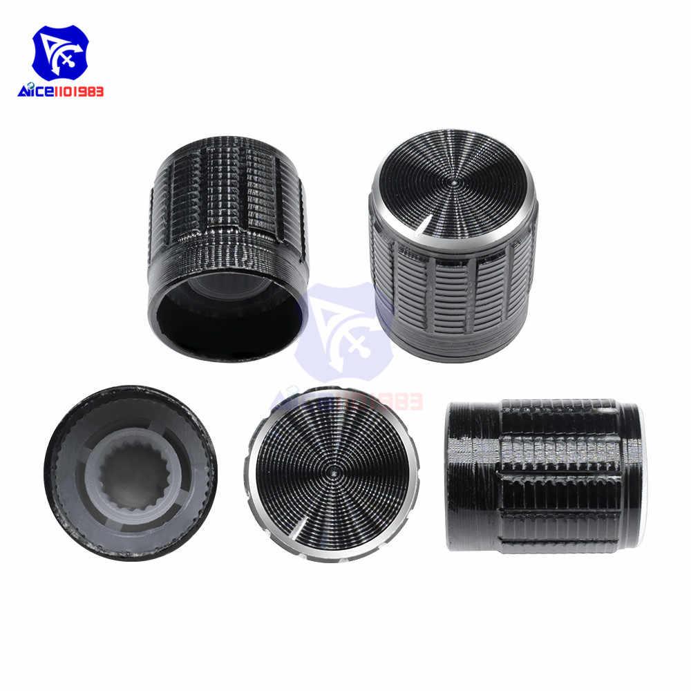 10PCS/Lot Black Metal 6 mm Knurled Shaft Insert Dia. Potentiometer Control Knobs Switch Knob 15mm Dia. x 16.5mm Height