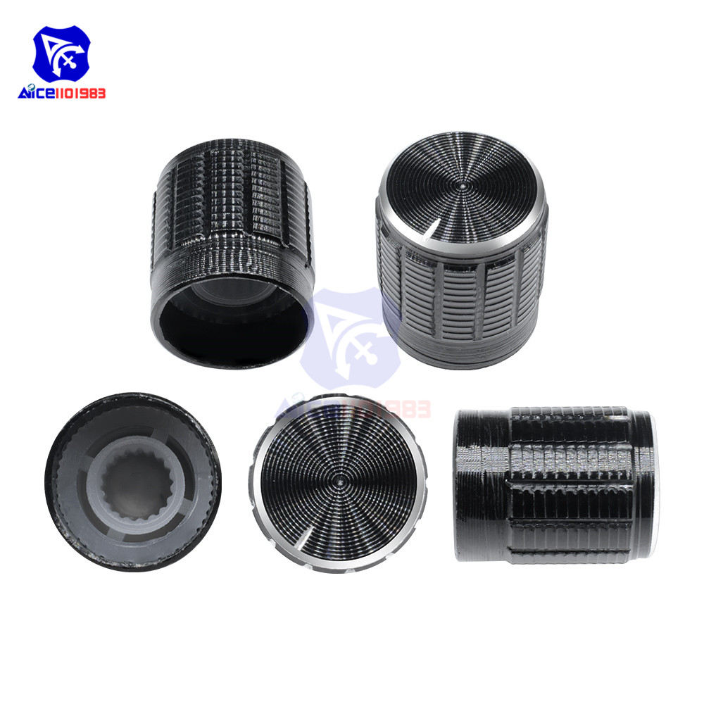 5PCS/Lot Black Metal 6 Mm Knurled Shaft Insert Dia. Potentiometer Control Knobs Switch Knob 15mm Dia. X 16.5mm Height