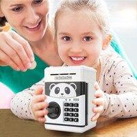 Password Mini Piggy Bank Cash Coins Money Bill Safe Box Lock Sound Battery Power Panda Save