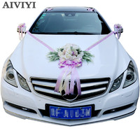 Artificial Flowers Wedding Car Decoration Sets Wedding Decoration Flowers Silk Roses Decorative Wreath DIY Customized Wholesale