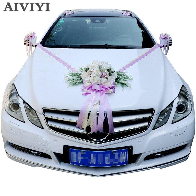 Fleurs artificielles mariage voiture décoration ensembles mariage décoration fleurs soie Roses décoratif couronne bricolage personnalisé en gros