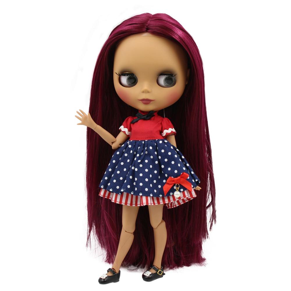 factory blyth doll 1 6 bjd joint body dark skin matte face straight rose red hair