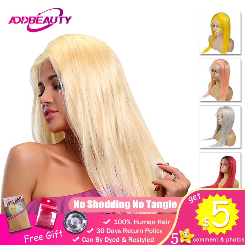 Ombre 13x4 / Full Lace Front Wig Brazilian Remy Hair Straight Human Cosplay 613 Blonde 99J Gray Purple Red Pink Yellow Color-in Human Hair Lace Wigs from Hair Extensions & Wigs    1