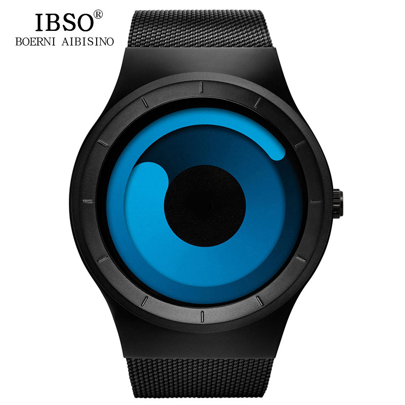 IBSO Brand Fashion Men Creative Rotation Watch Stainless Steel Mesh Strap Quartz Watch Male Sport Watches Relogio MasculinoIBSO Brand Fashion Men Creative Rotation Watch Stainless Steel Mesh Strap Quartz Watch Male Sport Watches Relogio Masculino