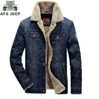 Afs Jeep Winter Coats Casual Denim Jacket Men Thick Warm Fleece Collar Denim Blue Male Fashion