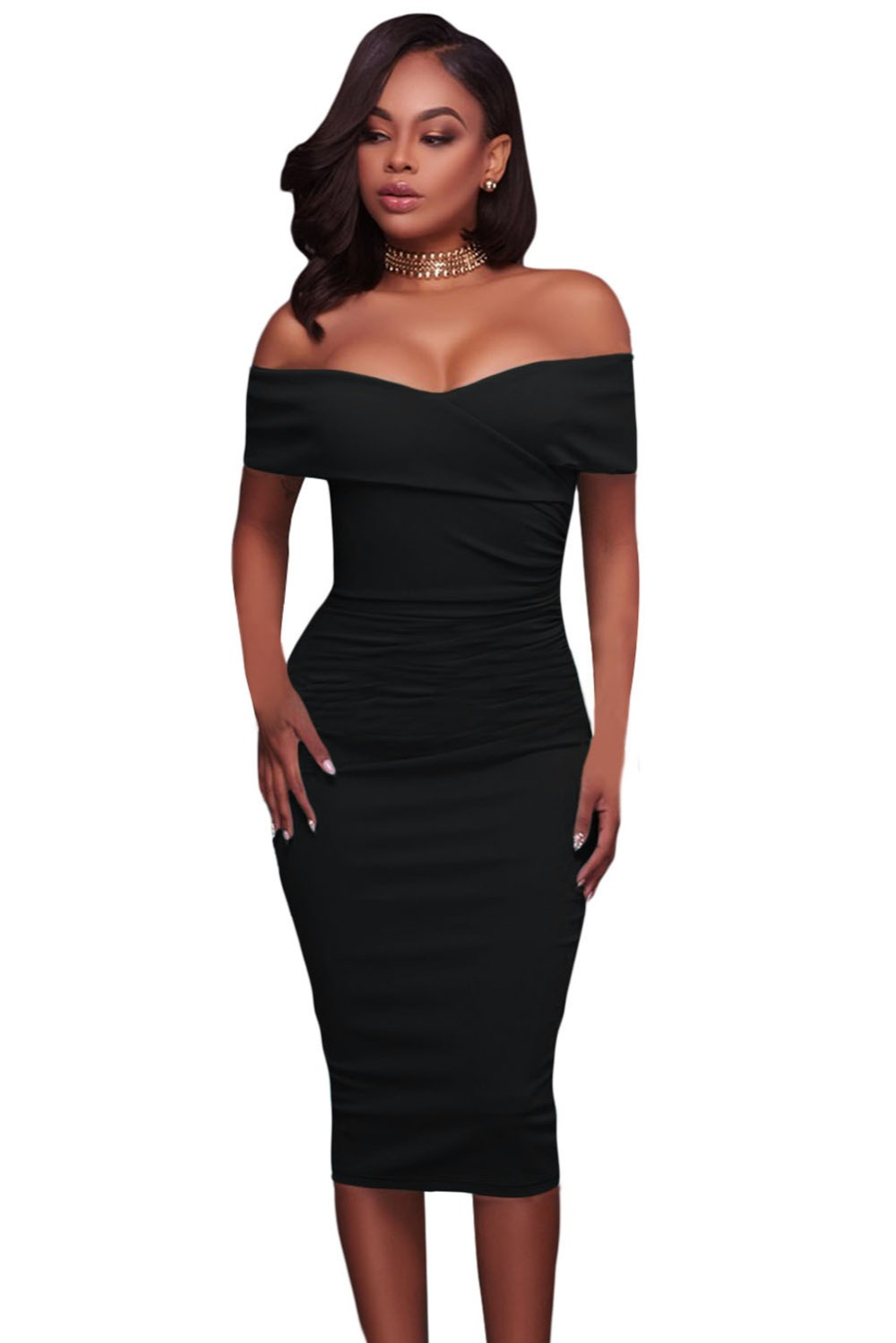 Black-Ruched-Off-Shoulder-Bodycon-Midi-Dress-LC61507-2-1