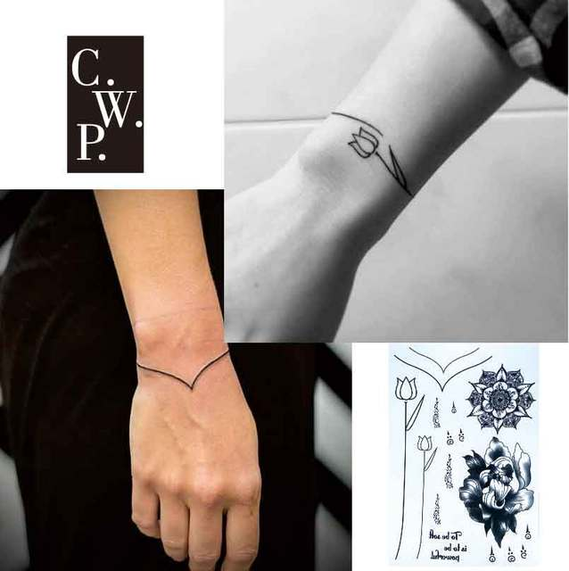 Bh1706 1 Piece Simple Bracelet Black Line Tattoo With Flower Wrist