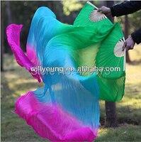 2014 New fashion 180cm long Belly Dance Silk Fan Veils with green+light blue+fuchsia